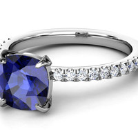 European Engagement Ring - Large Cushion Blue Sapphire 2.8 Carat Ring Diamond Band in 14K White Gold - ER261