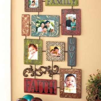 KNLSTORE Elegant Inspirational Faith Family Love Embossed Scrollwork Metal Collage Photo Picture Frame Red Blue Green Brown Swirls Scrolls Wall Decoration Hanging Home Accent Decor:Amazon:Everything Else