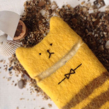 Cover/Case/Wool Sleeve/Wool Felt/fit iPhone 4s/5/5s/6/Cat/Yellow/Animal/Geekery Gift
