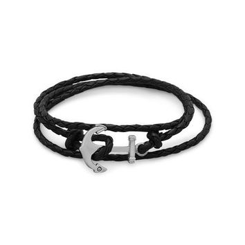 Leather and Stainless Steel Anchor Wrap Bracelet