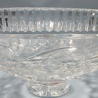 """Signed Waterford crystal 11"""" footed bowl hand CUT glass"""