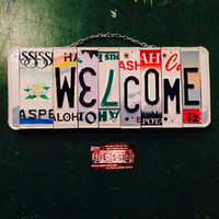 Home decor. Welcome. Sign. Flower. Home . License plate. Girl. Home. Wall hanging . Custom . Gift idea.