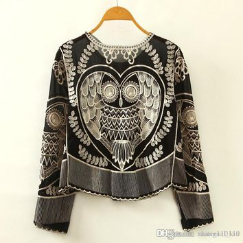 2018 New Women's Chiffon Blouses Shirts Lace owl Embroidery pattern shirt loose O neck Animal Embroidery Fashion Long sleeves drop ship