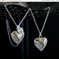 SALE Silver Heart Initial Locket Necklace