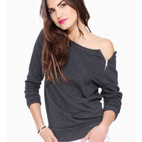 Grey Long Sleeve Off Shoulder with Zipper Top