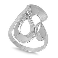925 Sterling Silver Curving Ring
