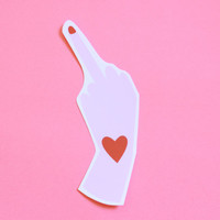 Lovely Middle Finger Sticker Matte Finish Hand Cut