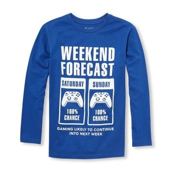 Boys Long Sleeve 'Weekend Forecast' Video Game Graphic Tee