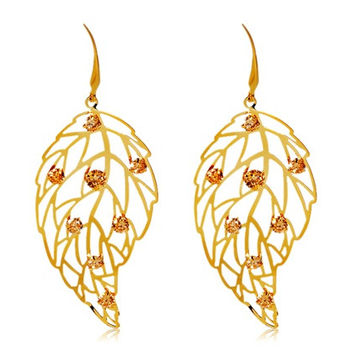 NEOGLORY Elegant Crystal Decorated Cut-out Leaf Design Earrings