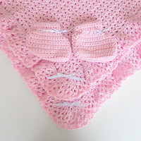Pink Baby Blanket Girl Pastel Booties Set Infant Afghan Shower Gift Newborn Children Crochet Clothing 3 - 6 Months