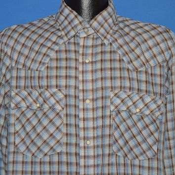 80s Levis Blue Brown Plaid Pearl Snap shirt Large