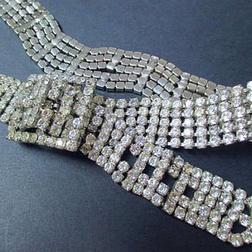 "Juliana Rhinestone Wedding Belt Hot Icy Stones Silver Plated Metal Hollywood Glamour 30"" Vintage"