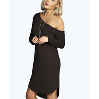 Long Sleeve Oblique Shoulder Mini Shift Dress
