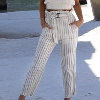 Good Energy Ivory Paperbag Linen Pant