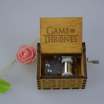 Drop Ship Handmade Engraved  Wooden Music Box Set Potter Game of Thrones Musix Boxes Antique Carved Cosplay Chirstmas Xmas