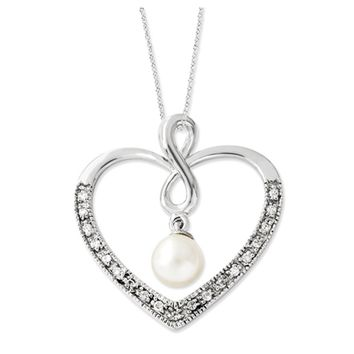 My Friend Sterling Silver Heart, CZ and FW Cultured Pearl Necklace