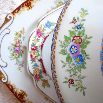 Mismatched China Serving Dishes.  Floral Antique Plates and Covered Bowl.  Alice in Wonderland Style, Dinnerware, Serving Dishes Shabby Chic