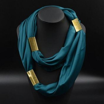 DCCKU62 Silk Necklace Long Scarf Necklace Solid Colors Gold-plated Decorative Soft Scarves Accessories Trendy Women 2015 New Arrival