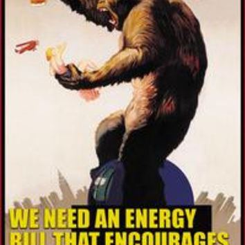 Energy bill that encourages consumption of beer _ George Bush: Fine art canvas print (12 x 18)