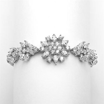 Marquise Cut AAAA Cubic Zirconia Flower and Vine Bracelet
