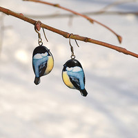Titmouse bird earrings - animal jewelry - spring fashion nature-inspired - mother's day - gift idea for her