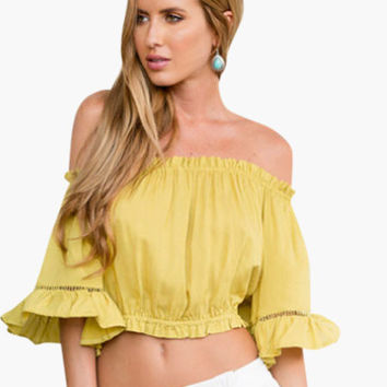 Off Shoulder Bell Sleeve Pleated Ruffle Cropped Top
