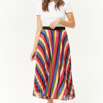 Rainbow Accordion-Pleated Midi Skirt