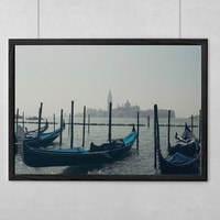 SALE Venice Photography Fine Art Print | Gondolas Amidst Fog | Archival Ink & Paper, Canvas, Metal, Free Shipping USA