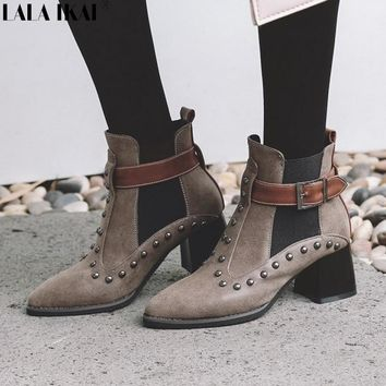 LALA IKAI Women Boots Winter Rivet Punk Style Square Heels Pointed Toe Chelsea Boots Ladies Ankle Boots Femininas XWC2273-5