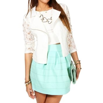 White Asymmetrical Lace Moto Jacket