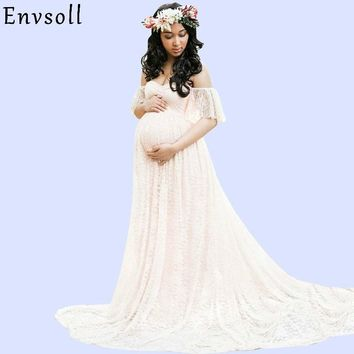 e791dc3e54c Envsoll Lace Maxi Gown Maternity Photography Props Pregnancy Dress  Maternity Dresses For Photo Shoot Pregnant Women