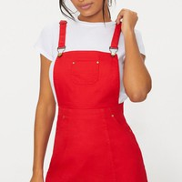 Martine Red Denim Pinafore Dress