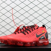 Nike Air Vapormax Flyknit Black Red 2.0 OFF-White Running Shoes - Best Deal Online