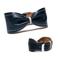 Leather bow bracelet cuff bangle - adjustable modern leather jewelry stylish unique gift for women - dark blue
