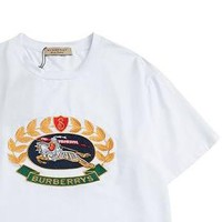 Burberry 2019 early spring new classic embroidery logo round neck loose short-sleeved T-shirt white