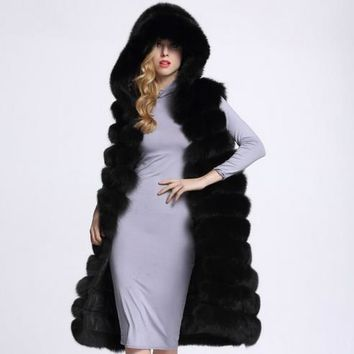 New 2017 Thicken Winter Warm Coat with fur hood Faux Mink Fox Fur Vest Jacket Feminino Long oversized Ladies Waistcoats WR741