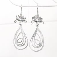Lotus Jewelry - Silver Lotus Earrings - Big and Bold - Very Long Earrings - Lotus Dangle Earrings - Lotus Flower Jewelry - Large Teardrop