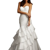 Allure Bridals 2451 Strapless Mermaid Taffeta Wedding Dress, White/Silver, 4