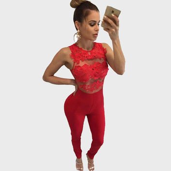 Sexy See Through Lace Flower Patchwork Jumpsuit Women 2016 Bandage Jumpsuit Sleeveless Party Night Club Bodysuit Red Overalls