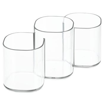 InterDesign Clarity Cosmetic Organizer Trio Cup for Vanity Cabinet to Hold Makeup Brushes, Beauty Products - Clear