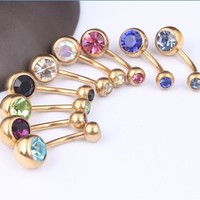 Gold Plated Crystal Rhinestone Belly Button Ring