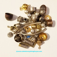 45 vintage distressed metal filigree beads caps round tube bead assorted mixed lot silver and gold tone