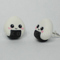 Nigga Japanese Rice Food Earrings Studs Kawaii