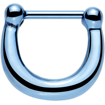 "16 Gauge 5/16"" Light Blue IP Stainless Steel Bold Septum Clicker"