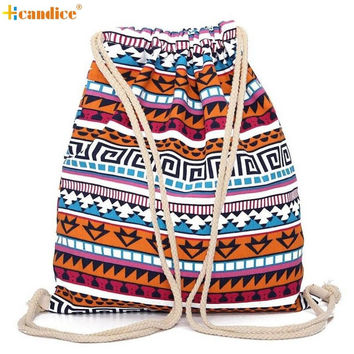 Naivety Fabric Women Bag Unisex Retro Geometric Printing Drawstring Backpack Bags Mochila 2017 New S61222