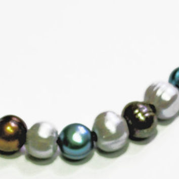 Pearl necklace, Freshwater Pearls, Multicolor Pearls,  Blue, Brown and White Pearls, Hook and Eye clasp, Gold Chain, Black Leather