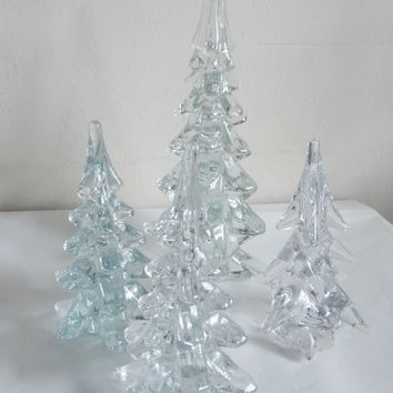 Lot Clear Glass Christmas Trees 10 Inch 6 Inch Vintage Swirl/Twisted and Other