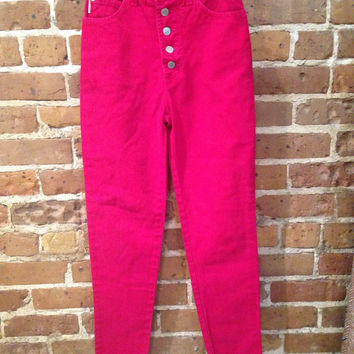 Hi Waisted Red Bongo 90s Jeans