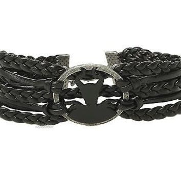 Licensed cool NEW 2014 Disney Maleficent Silhouette Charm Black Braid Leather Cord Bracelet