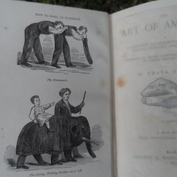 Antique book - The art of amusing by Frank Bellew - 1890 - rare magic arts old vintage book with pictorial cover boards - vintage bookshelf